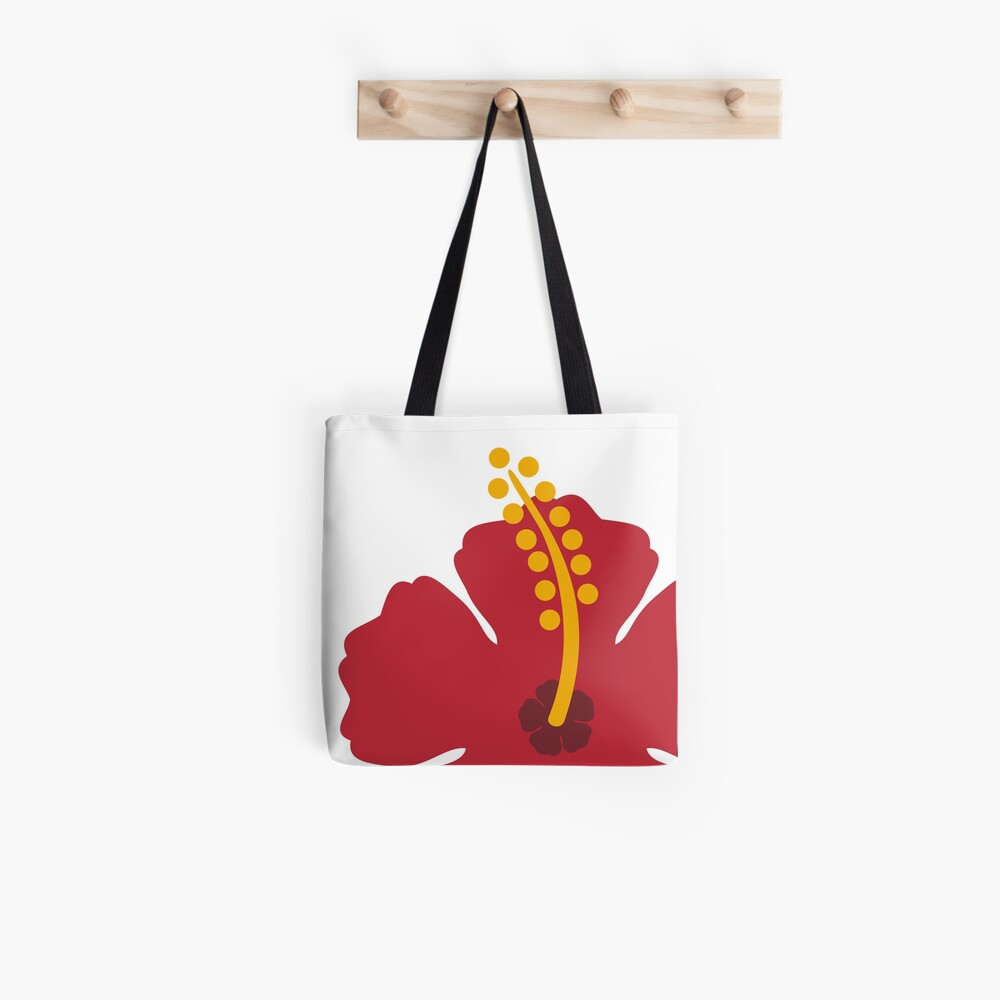 Red Hibiscus Flower Tote Bag