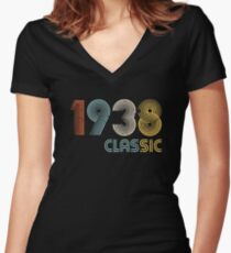 1938 classic 80 years old birthday Women's Fitted V-Neck T-Shirt
