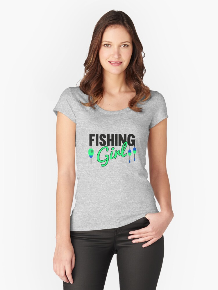 Fishing Girl Cool Fishing Lovers Vintage Tee Women's Fitted Scoop T-Shirt  Front