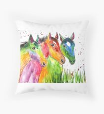 Three Colourful Horses Floor Pillow