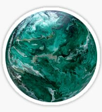 Malachite Jungle Green Silver Planet Abstract Fluid Art Sticker