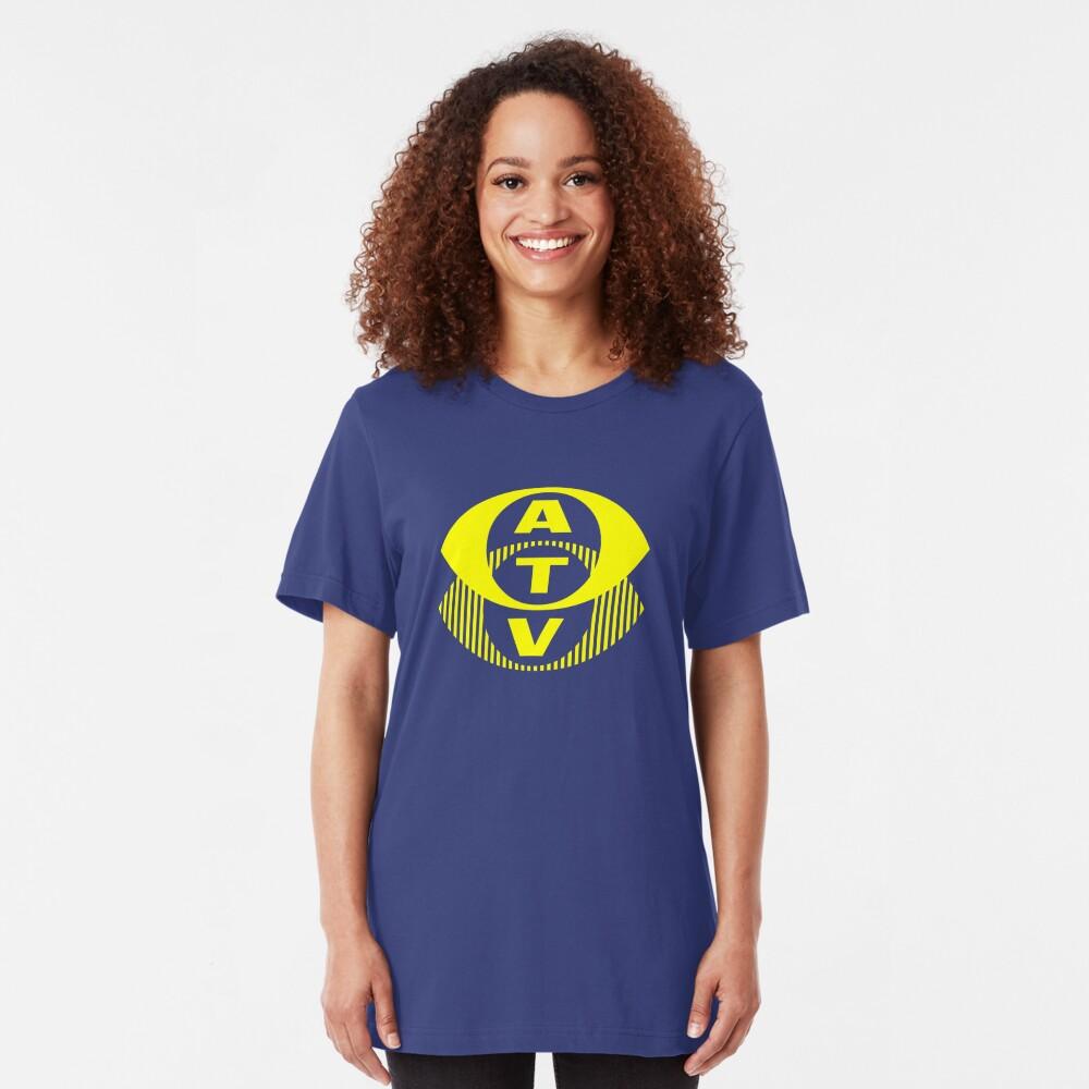 Retro TV ATV in a bright yellow Slim Fit T-Shirt
