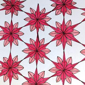 Pink Star Flower Design by RiseAndConquer