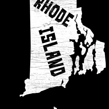 Rhode Island Home Vintage Distressed Map Silhouette by YLGraphics