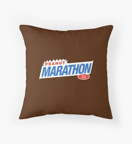 Retro Marathon (not Snickers, kids) chocolate bar logo: only 3p Throw Pillow