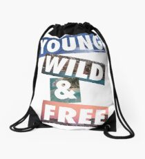 Young Wild Free | Beach & Summer Party Cool Surfin Drawstring Bag