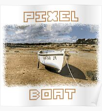 PIXEL BOAT with nice pixel font Poster