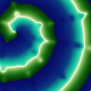 Bright blue and green spirals by TiiaVissak