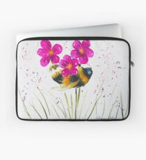 Bumble bee and Pink Flower Laptop Sleeve