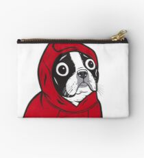 Boston Terrier in a Red Hoodie Studio Pouch