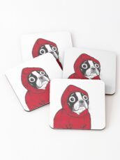 Boston Terrier in a Red Hoodie Coasters