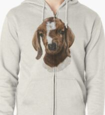 Portrait of a Goat  - Boer Goat Baby Nicklaus  Zipped Hoodie
