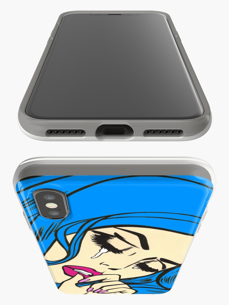 Alternate view of Blue Hair Crying Comic Girl iPhone Case & Cover