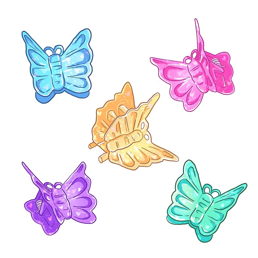 90s Nostalgia Series: Butterfly Clips by alyjones