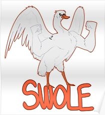 BIRDS WITH ARMS - Swole Swan Poster
