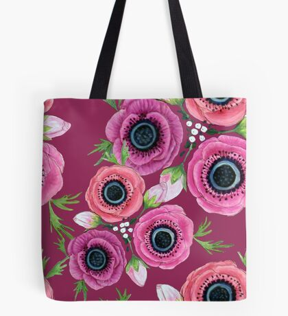 Autumn Floral Plum Anemone flowers in watercolor Tote Bag