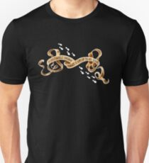 Up to no good banner with footsteps (on black) Unisex T-Shirt