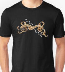 Bis zu keinem guten Banner mit Schritten (auf Schwarz) Unisex T-Shirt