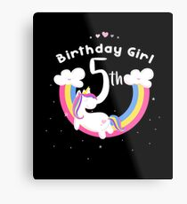 Unicorn 5th Birthday Girl - Gift For 5 Year Old Girl For 5th Birthday Girl Metal Print