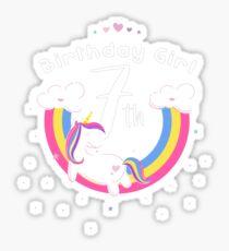 Unicorn 7th Birthday Girl - Gift For 7 Year Old Girl For 7th Birthday Girl Sticker