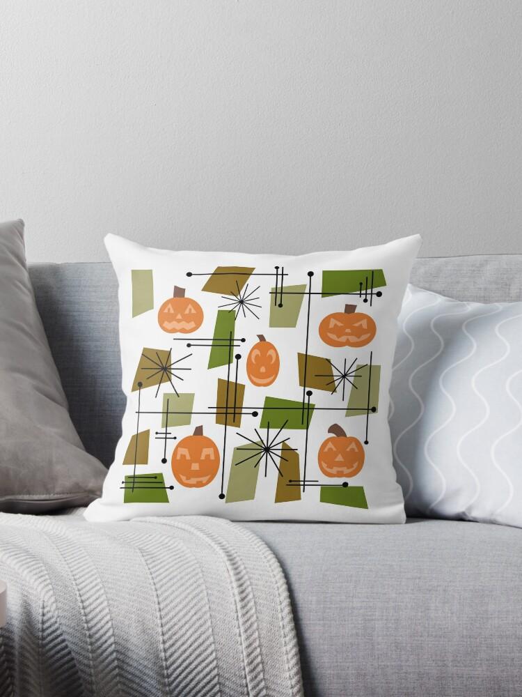 \'Halloween Mid Century Modern\' Throw Pillow by thepixelgarden