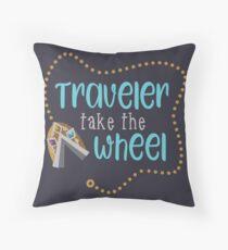 Traveler Take the Wheel Throw Pillow