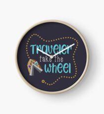 Traveler Take the Wheel Clock
