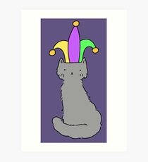 Jester Hat Blue Cat Art Print