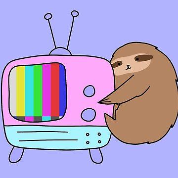 Vintage No Signal TV Sloth by SaradaBoru