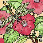 Damselfly on camellias by genevievem