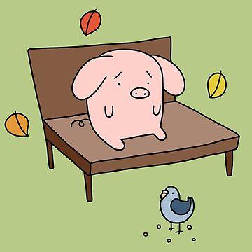 Sad Park Bench Pig by SaradaBoru