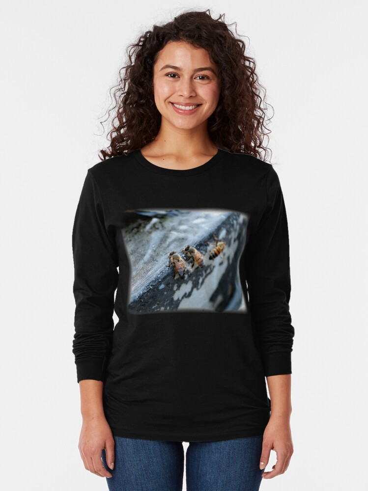 Alternate view of Bees take a drink from A Gardener's Notebook Long Sleeve T-Shirt
