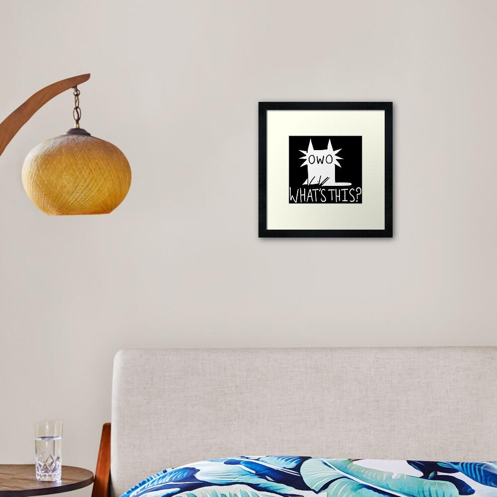Gay OWO Cat (white text) Framed Art Print