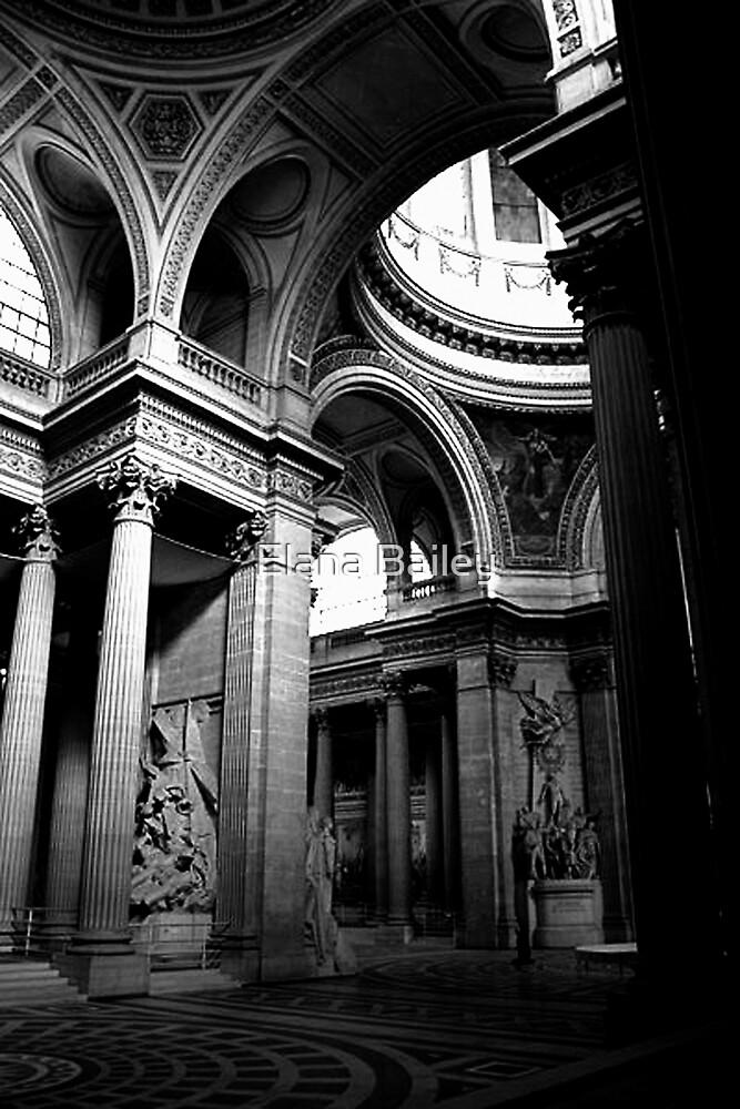 Pantheon interior in Paris in monochrome by Elana Bailey