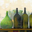 Old Bottles in an Old Window by Barbara  Brown