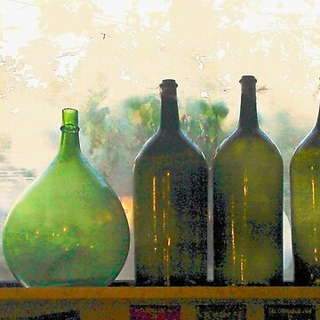 Old Bottles in an Old Window by lenzart