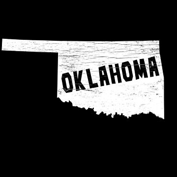 Oklahoma Home Vintage Distressed Map Silhouette by YLGraphics