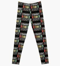 Straight Outta 2009 Classic 2009 Retro Disco Theme - Made In 2009 Born In 2009 Gift Leggings