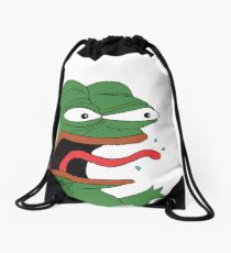 Pepe The Frog Mad Angry Raging and screaming REE with tongue out Rare PepeTheFrog from Kekistan Drawstring Bag