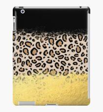 Wilder - schwarzer Goldfolien-Cheetahdrucktier-Musterfleck punktiert mutigen modernen Entwurfsscheinfunkeln iPad-Hülle & Klebefolie