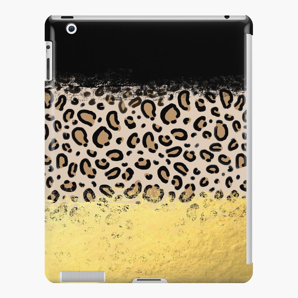 Wilder - estampado de guepardo con estampado de leopardo en piel de oro negro estampado de puntos en negrita brillo moderno con diseño moderno Funda y vinilo para iPad