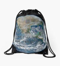 Earth - Let's be careful Drawstring Bag