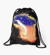 Dolphin cartoon burning Drawstring Bag