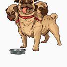 Cute Three Headed Pug Cerberus   Geeky Love and Friendship by PathOfPixels
