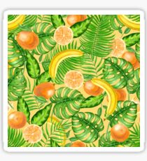 Tangerines, bananas and tropical leaves Sticker