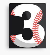 Number 3 Baseball #3 Metal Print
