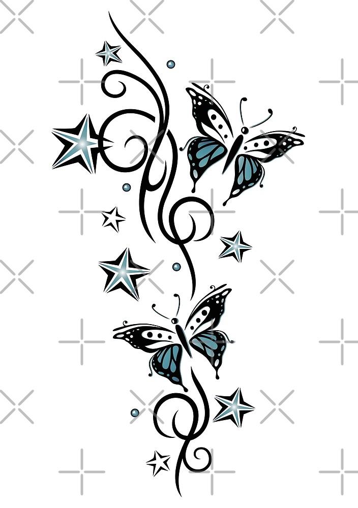 Tattoo Ranke mit Sternen und Schmetterlingen von Christine Krahl
