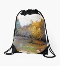 Autumn on the Pond Drawstring Bag