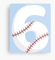 Number 6 Baseball #6 Metal Print