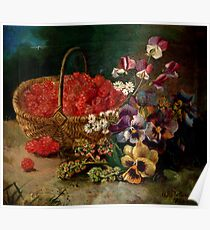 Berry Basket And Flowers Poster